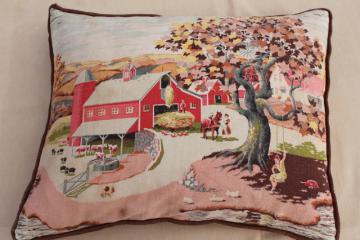 shabby vintage barkcloth cushion, feather pillow w/ country farm red barn print