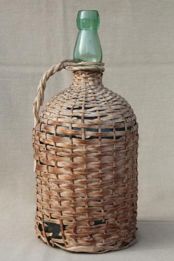 Shabby Vintage Basket Covered Bottles Lot Of Old Green Glass Wine