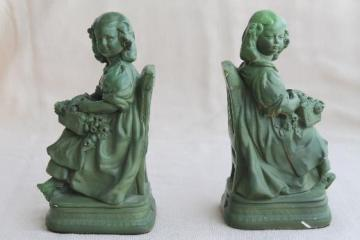 shabby vintage chalkware flower girl figurines, plaster bookends w/ old green paint