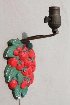 shabby vintage chalkware pin-up lamp, cottage kitchen wall sconce light w/ strawberries