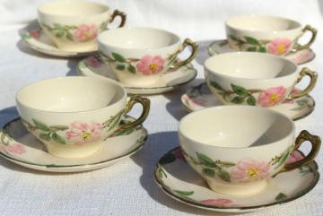 shabby vintage china cups & saucers for teacup planters or garden art, Franciscan Desert Rose