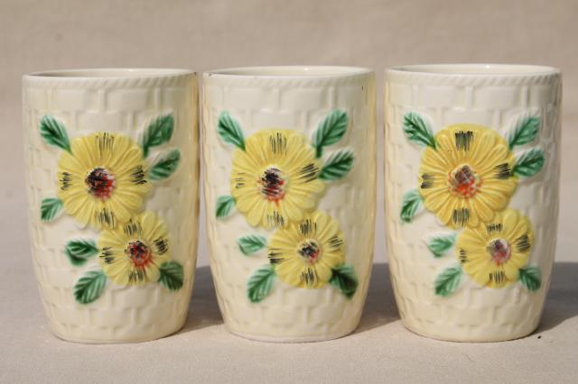 shabby vintage china tumblers w/ sunflowers, drinking glasses or tiny vases