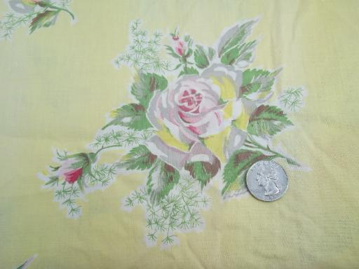 shabby vintage cotton floral print fabric, old pink roses on pale yellow