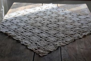 shabby vintage crochet lace table cover cloth, farmhouse table topper centerpiece