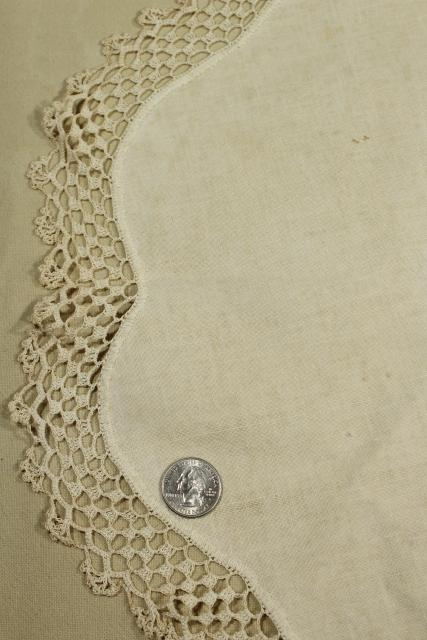 shabby vintage doily lot, lace trimmed linen table mats &  centerpieces w/ crochet edgings