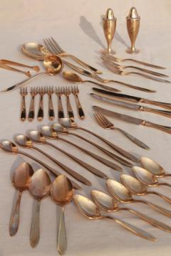 shabby vintage gold flatware, Dirilyte Regal silverware estate lot