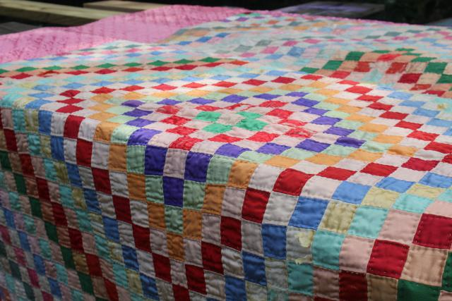 shabby vintage hand stitched crazy quilts, velvet ribbon stripes & satin postage stamp blocks