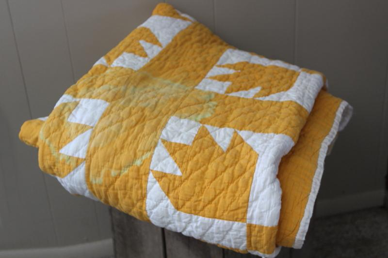shabby vintage hand-stitched bear paw pattern quilt, mustard gold & white cotton