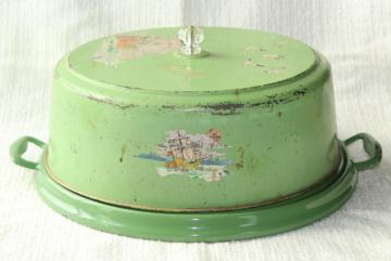 shabby vintage metal cake cover dome w/ jadite green & white enamelware tray plate, 1920s