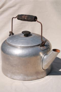 shabby vintage metal tea kettle for garden planter, big old teapot one gallon size