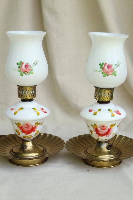 shabby vintage painted roses milk glass lamps, boudoir or parlor mantel lamp pair