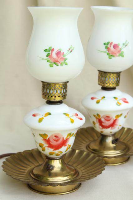 Shabby Vintage Painted Roses Milk Glass Lamps Boudoir Or