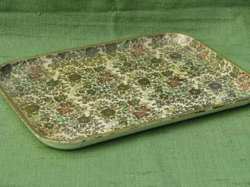 shabby vintage papier mache tray, chintz floral print w/ gold
