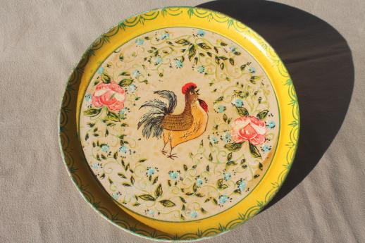 shabby vintage papier mache tray, rooster & roses paper mache tray Made in Japan