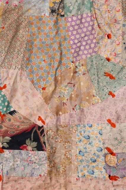 Shabby Vintage Patchwork Quilt Hand Tied Comforter W