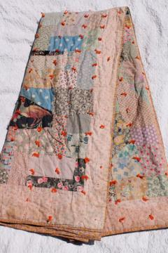 shabby vintage patchwork quilt, hand-tied comforter w/ colorful old fabric prints