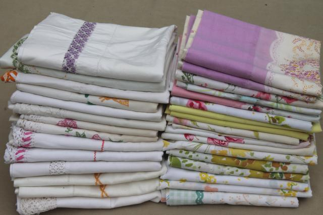 Shabby Vintage Pillowcases Lot Floral Print Fabric Or