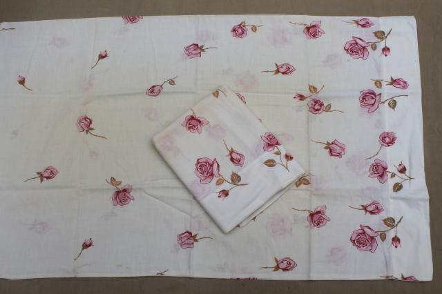 shabby vintage pillowcases lot, floral print fabric or embroidered pillowcases w/ crochet lace