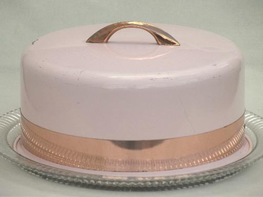 & shabby vintage pink metal cake dome cover w/ pressed glass cake plate