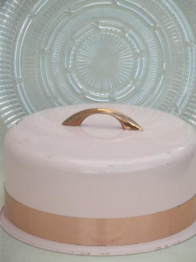 shabby vintage pink metal cake dome cover w/ pressed glass cake plate