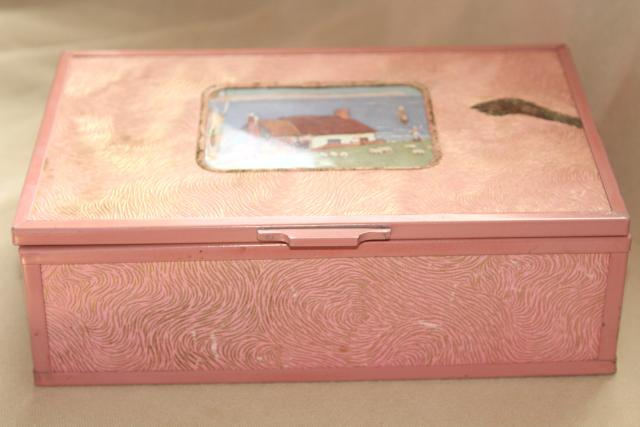 shabby vintage pink stucco memory box w/ cottage scene, dresser chest for hankies or gloves