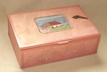 shabby vintage pink stucco memory box w/ cottage scene, dresser chest for hankies or gloves