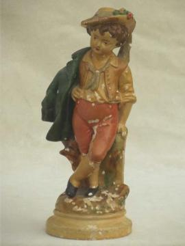 shabby vintage plaster statue, pastoral shepherd boy painted chalkware figurine