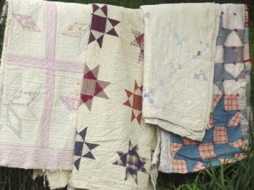 shabby vintage quilts, old antique cotton print patchwork quilt lot