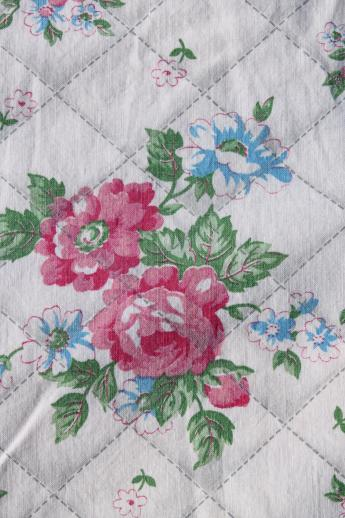 shabby vintage tied quilt w/ old cottage rose floral print cotton comforter cove