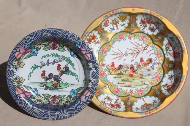 shabby vintage tin bowls w/ roosters Daher tole ware \u0026 painted metal dish & shabby vintage tin bowls w/ roosters Daher tole ware \u0026 painted ...