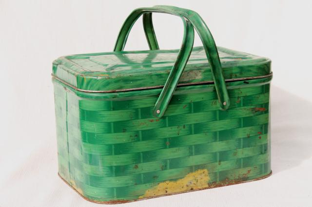 shabby vintage tin picnic hamper w/ handles, basket weave litho print in retro green