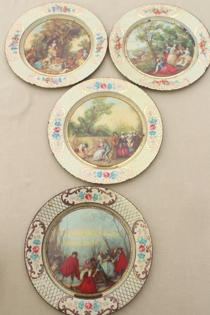 shabby vintage tin plates w/ French country prints Daher tole ware from Belgium & shabby vintage tin plates w/ French country prints Daher tole ware ...