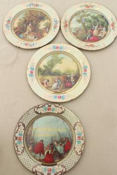 shabby vintage tin plates w/ French country prints, Daher tole ware from Belgium