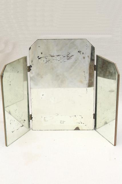 Shabby Vintage Triptych Panel Folding Mirror Three Way