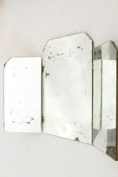 shabby vintage triptych panel folding mirror, three way vanity frameless mirror