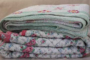 shabby vintage whole cloth quilts, cotton print quilted comforter blankets