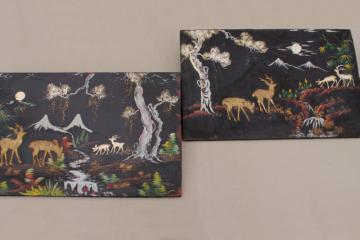 shabby vintage wood panel pictures, painted black lacquer forest scene w/ applied deer