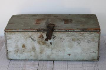 shabby vintage wood toolbox w/ old blue paint, rustic farmhouse style primitive