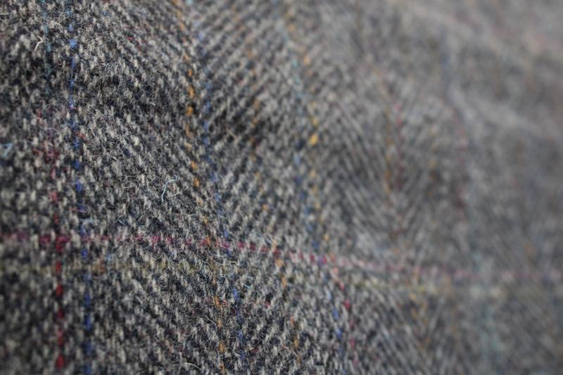 shabby vintage wool tweed fabric for cutting rugs or craft sewing material
