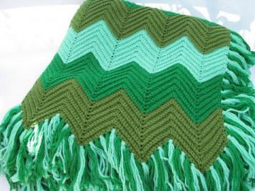 shaded greens, soft vintage acrylic crochet afghan throw blanket