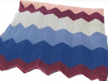 shaded pinks / blues, soft vintage wool crochet afghan throw blanket