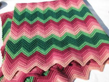 shaded pinks / pale green, soft vintage wool crochet afghan throw blanket