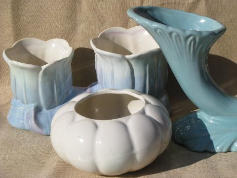 shades of blue and white pottery pots, planters, vases - art deco shapes