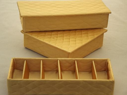 hollywood regency vintage gold satin lingerie boxes & handkerchief box