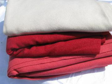 shades of coral, lot vintage wool fabric for sewing crafts, felting, braiding rugs
