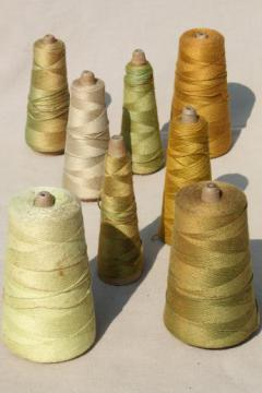shades of gold / leaf green primitive grubby old spools of vintage cotton cord thread