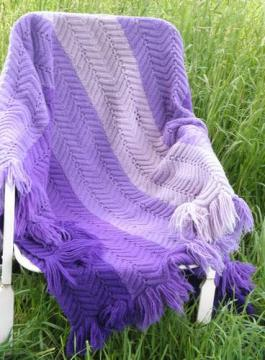 shades of lavender purple, retro vintage crocheted wool afghan throw