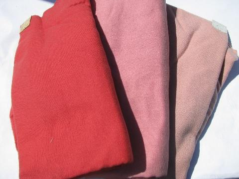 shades of pink, lot vintage wool fabric for sewing crafts, felting, braiding rugs