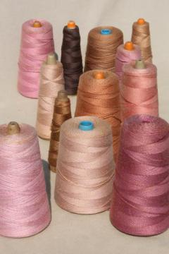 shades of tan rose brown primitive grubby old spools of vintage cotton cord thread