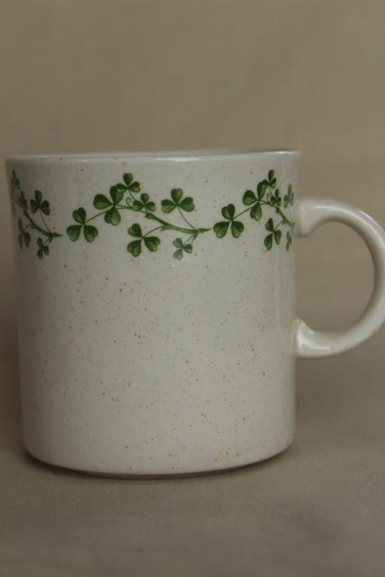 shamrock pattern vintage coffee tea mugs collection, Irish lucky clover for St Patrick's Day